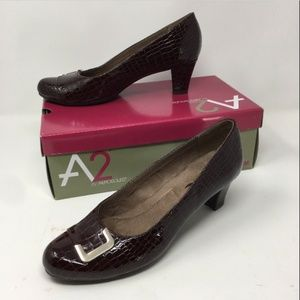 AEROSOLES A2 Shore Fire Wine Crocodile Heels